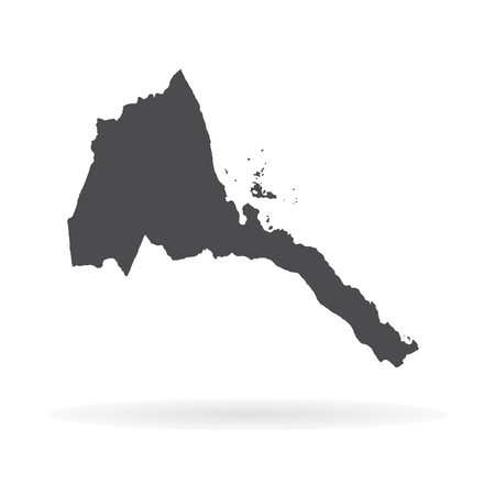 Vector map Eritrea. Isolated vector Illustration. Black on White background. EPS 10 Illustration.