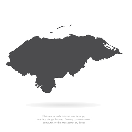 Vector map Honduras. Isolated vector Illustration. Black on White background. EPS 10 Illustration.