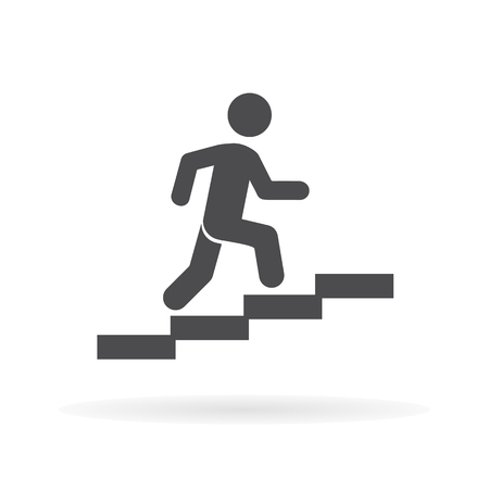 Man stairs icon. For web, business, finance and communication. Vector Illustration. Banque d'images - 110443220
