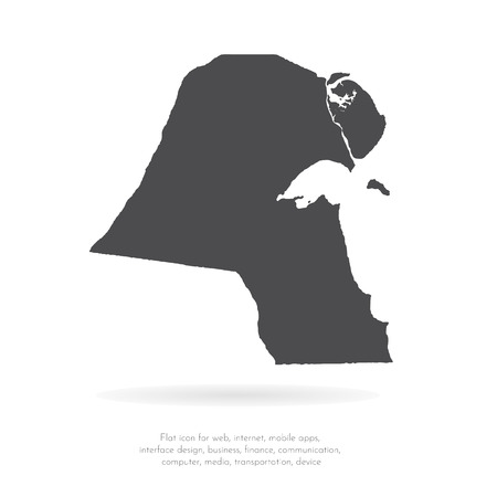 Vector map Kuwait. Isolated vector Illustration. Black on White background. EPS 10 Illustration.