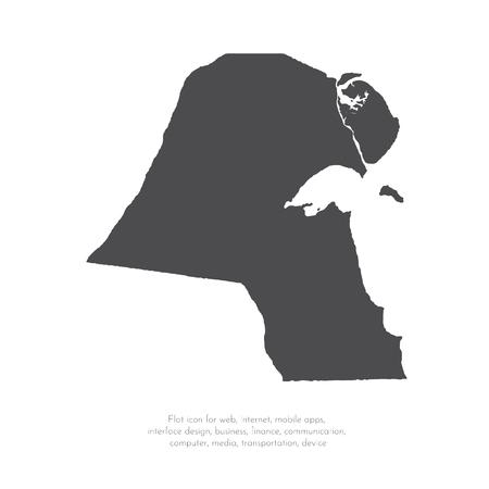 Mapa wektor Kuwejt. Ilustracja na białym tle wektor. Czarno na białym tle. EPS 10 ilustracja. Ilustracje wektorowe