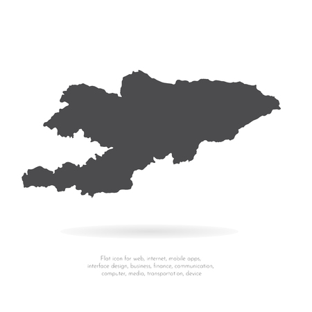 Vector map Kyrgyzstan. Isolated vector Illustration. Black on White background. EPS 10 Illustration. 일러스트