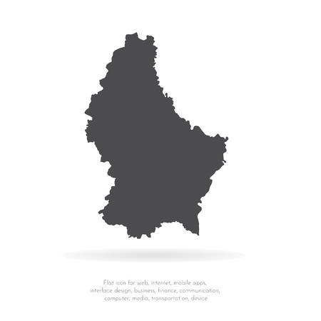 Vector map Luxembourg. Isolated vector Illustration. Black on White background. EPS 10 Illustration. Illustration