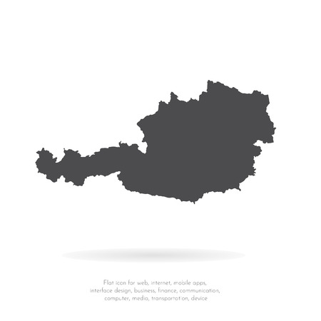 Vector map Austria. Isolated vector Illustration. Black on White background. EPS 10 Illustration. 向量圖像