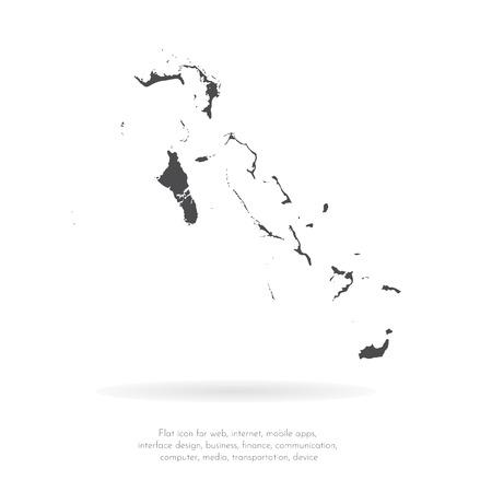 Vector map Bahamas. Isolated vector Illustration. Black on White background. EPS 10 Illustration. 矢量图像