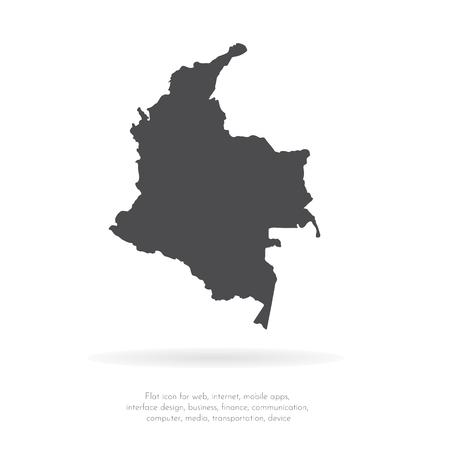 Carte vectorielle Colombie. Illustration vectorielle isolé. Noir sur fond blanc. Illustration EPS 10.
