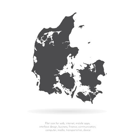 Vector map Denmark. Isolated vector Illustration. Black on White background. EPS 10 Illustration.