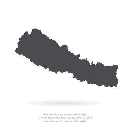 Vector map Nepal. Isolated vector Illustration. Black on White background. EPS 10 Illustration.