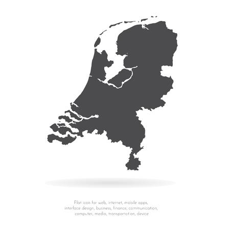 Carte vectorielle des Pays-Bas. Illustration vectorielle isolé. Noir sur fond blanc. Illustration EPS 10.