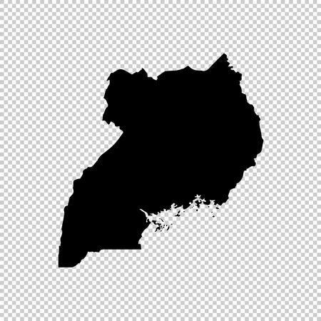 Vector map Uganda. Isolated vector Illustration. Black on White background. EPS 10 Illustration.