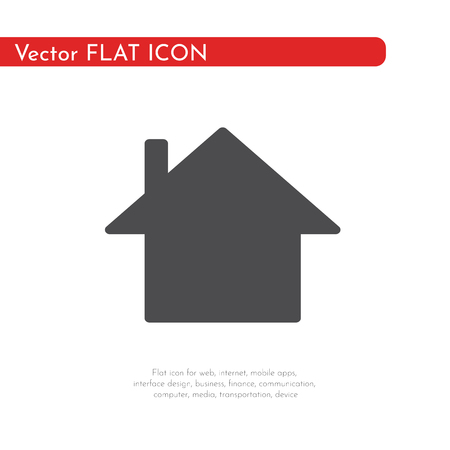 Flat icon house. For web, business, finance and communication. Vector Illustration.  イラスト・ベクター素材