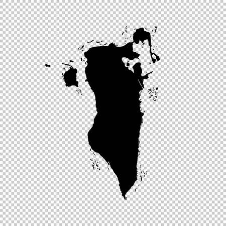Carte vectorielle Bahreïn. Illustration vectorielle isolée. Noir sur fond blanc. Illustration EPS 10.