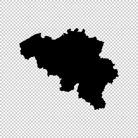 Vector map Belgium. Isolated vector Illustration. Black on White background.