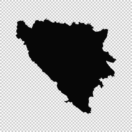 Vector map Bosnia and Herzegovina. Isolated vector Illustration. Black on White background.