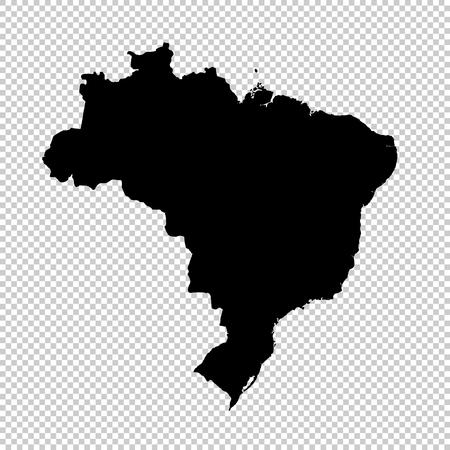 Vector map Brazil. Isolated vector Illustration. Black on White background.