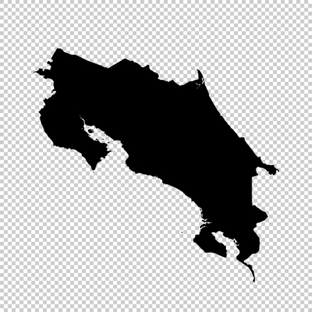 Vector map Costa Rica. Isolated vector Illustration. Black on White background.