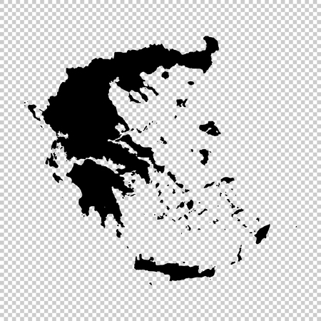 Vector map Greece. Isolated vector Illustration. Black on White background.