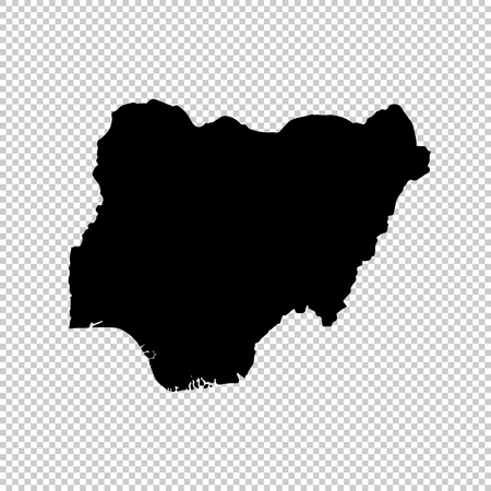 Vector map Nigeria. Isolated vector Illustration. Black on White background.