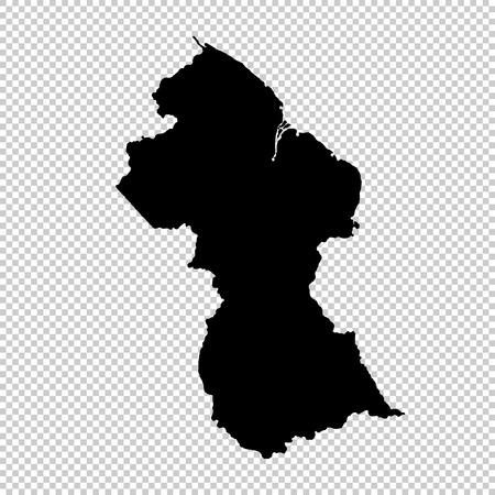 Vector map Guyana. Isolated vector Illustration. Black on White background.