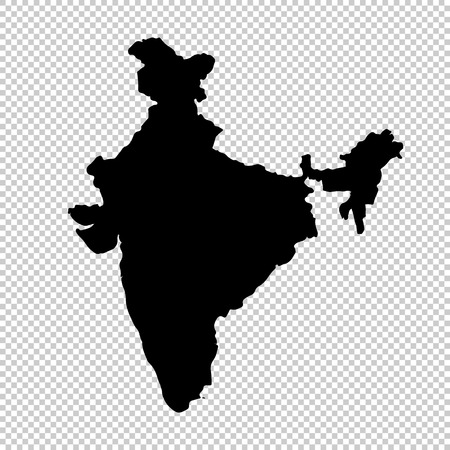 Vector map India. Isolated vector Illustration. Black on White background.