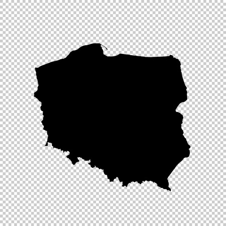 Vector map Poland. Isolated vector Illustration. Black on White background. Vektorové ilustrace
