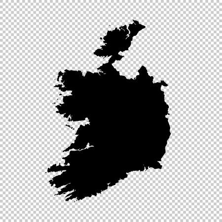 Vector map Ireland. Isolated vector Illustration. Black on White background.