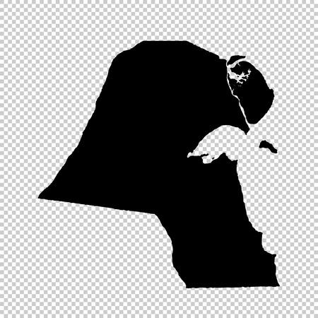 Vector map Kuwait. Isolated vector Illustration. Black on White background. EPS 10 Illustration. Ilustracje wektorowe