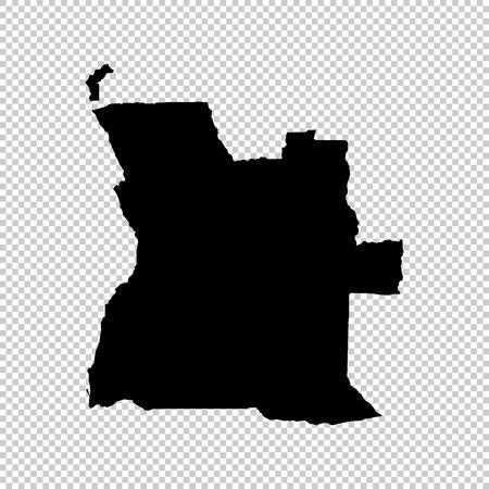 Carte vectorielle de l'Angola. Illustration vectorielle isolé. Noir sur fond blanc. Illustration EPS 10. Vecteurs