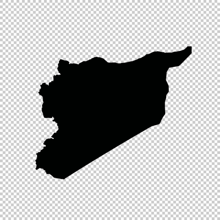 Mapa del vector Siria. Ilustración de vector aislado. Negro sobre fondo blanco.