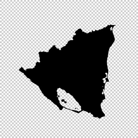 Vector map Nicaragua. Isolated vector Illustration. Black on White background. Vetores