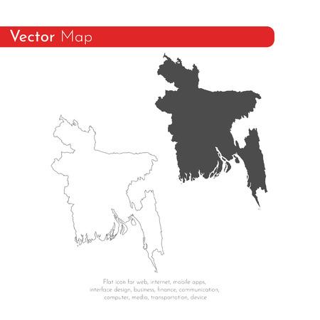 Vektorkarte Bangladesch. Isolierte Vektorillustration. Schwarz auf weißem Hintergrund. EPS 10 Abbildung.