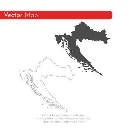 Vector map Croatia. Isolated vector Illustration. Black on White background. EPS 10 Illustration. Vektoros illusztráció