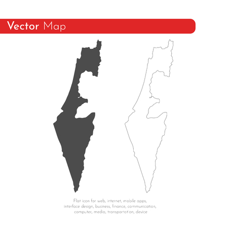 Vector map Israel. Isolated vector Illustration. Black on White background. EPS 10 Illustration.