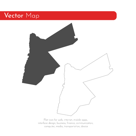 Vector map Jordan. Isolated vector Illustration. Black on White background. EPS 10 Illustration.