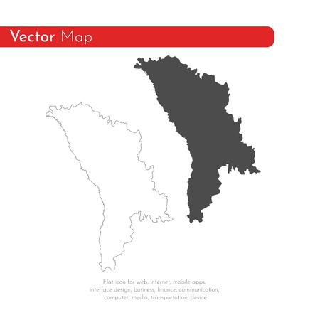 Vector map Moldova. Isolated vector Illustration. Black on White background. EPS 10 Illustration.  Illustration