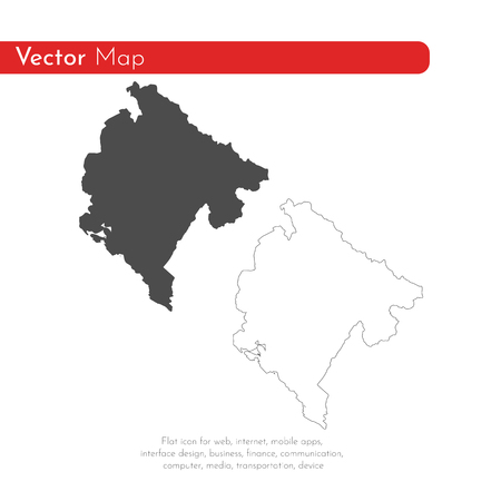 Vector map Montenegro. Isolated vector Illustration. Black on White background. EPS 10 Illustration.  イラスト・ベクター素材