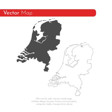 Vectorkaart Nederland. Geïsoleerde vectorillustratie. Zwart op witte achtergrond. EPS-10 Illustratie.
