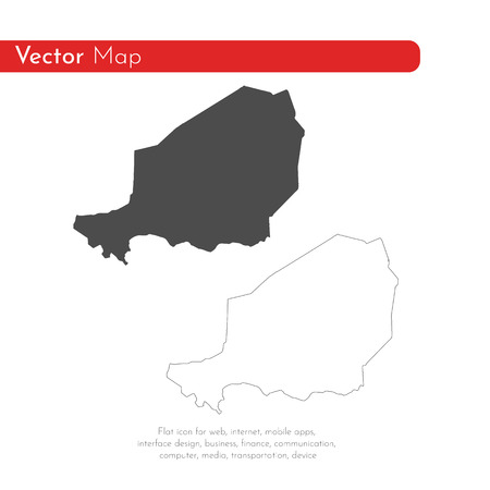 Vector map Niger. Isolated vector Illustration. Black on White background. EPS 10 Illustration.