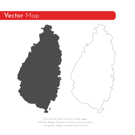 Vector map Saint Lucia. Isolated vector Illustration. Black on White background. EPS 10 Illustration.