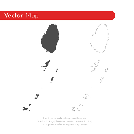 Vector map Saint Vincent and the Grenadines. Isolated vector Illustration. Black on White background. EPS 10 Illustration. Illustration
