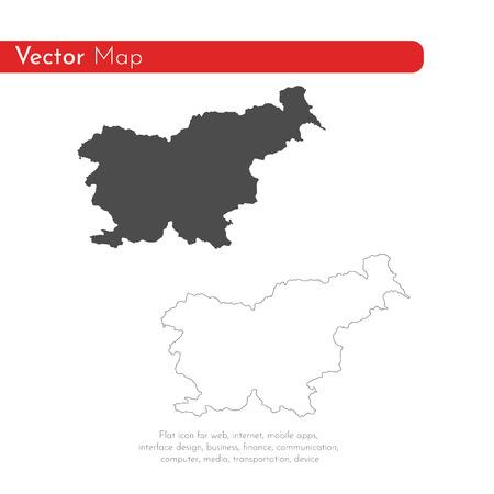 Vector map Slovenia. Isolated vector Illustration. Black on White background. EPS 10 Illustration.  イラスト・ベクター素材