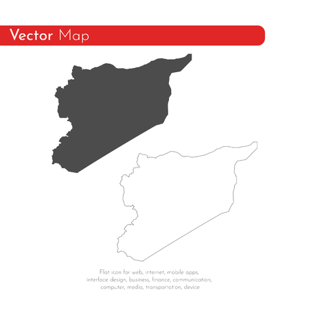 Vector map Syria. Isolated vector Illustration. Black on White background. EPS 10 Illustration. Ilustración de vector