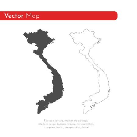 Vector map Vietnam. Isolated vector Illustration. Black on White background. EPS 10 Illustration.