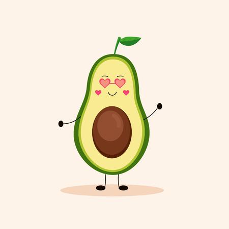 Cute avocado girl. Vector Illustration.