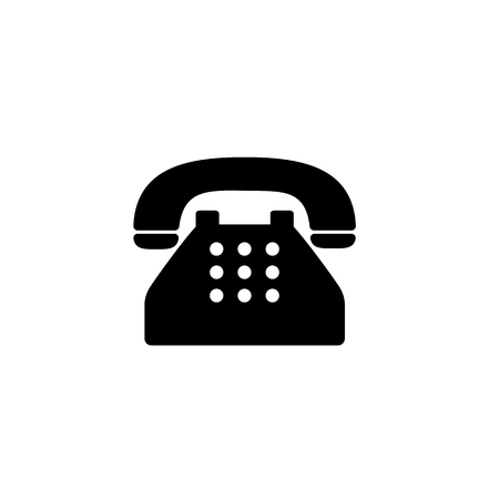 Old typical phone flat icon. Stock Illustratie