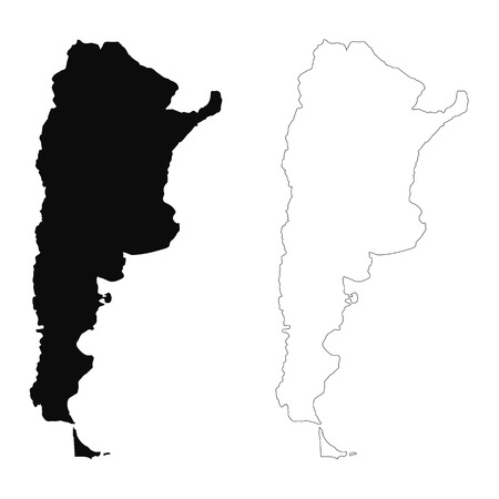 Vector map Argentina. Isolated vector Illustration. Black on White background. EPS 10 Illustration.