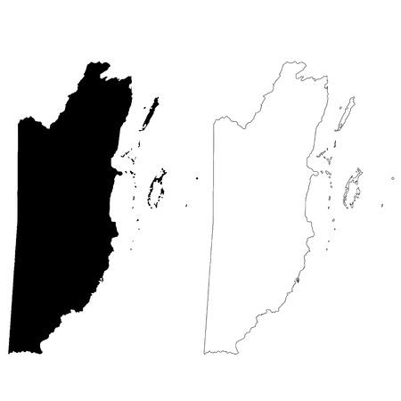 Vector map Belize. Isolated vector Illustration. Black on White background. EPS 10 Illustration. Vetores
