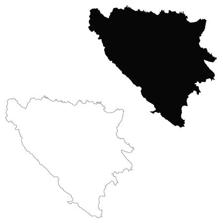 Vector map Bosnia and Herzegovina. Isolated vector Illustration. Black on White background. EPS 10 Illustration.
