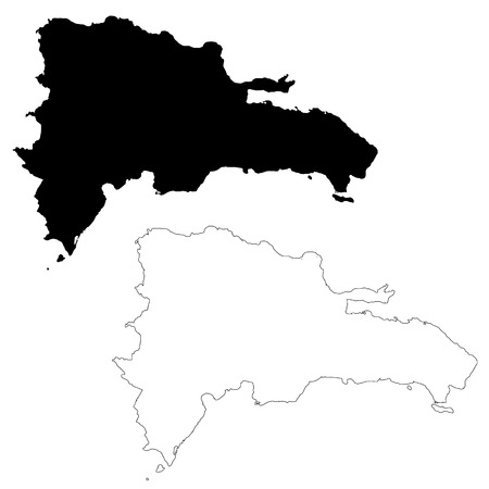 Vector map Dominican Republic. Isolated vector Illustration. Black on White background. EPS 10 Illustration. Ilustração