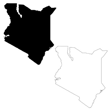 Vector map Kenya. Isolated vector Illustration. Black on White background. EPS 10 Illustration. Ilustração